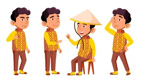 Asiatisches Jungen-Kindergarten-Kind wirft gesetzten Vektor auf Festival, Drache Charakter-Spielen childish Zufällig kleiden Sie  stock abbildung
