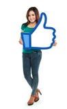 Asiatisches junges Mädchen, das wie Symbol hält Lizenzfreies Stockfoto