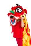 Asiatisches kleines Mädchen auf Chinesisch Lion Custome Dance During Chinese N Lizenzfreies Stockbild