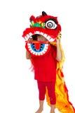 Asiatisches kleines Mädchen auf Chinesisch Lion Custome Dance During Chinese N Stockbilder