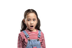 Asiatisches kleines Mädchen mit lustigem überraschtem Ausdruck Stockbild