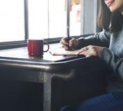 Asiatisches Konzept Damen-Writing Notebook Diary Lizenzfreies Stockbild