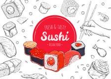 Asiatisches Lebensmittel-Plakat Vektorhand gezeichnet Sushi stock abbildung