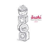Asiatisches Lebensmittel-Plakat Vektorhand gezeichnet Sushi lizenzfreie abbildung