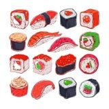 Asiatisches Lebensmittel-Plakat Vektorhand gezeichnet Sushikonzept Stockfotos