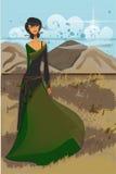 Asiatisches Mädchen im grünen langen Kleid in den Bergen Stockbild