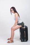 Asiatisches Mädchen im Reisekonzept Stockfotos