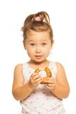Asiatisches Mädchen mit Donut Stockfotos