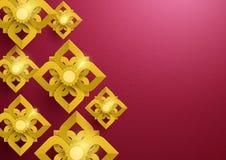 Asiatisches Muster der Goldabstrakten Blumen im roten Hintergrund Lizenzfreie Stockbilder