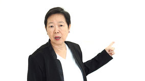 Asiatisches Senior Manager-Geschäftsfrauschreien und verärgerte Zusammenfassung Lizenzfreie Stockbilder