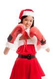 Asiatisches Weihnachts-Santa Claus-Mädchen mit Boxhandschuh stockbilder