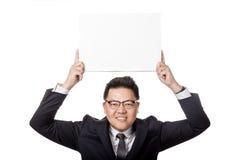 Asiatisches Zeichen des freien Raumes des Geschäftsmann-Griffs a3 obenliegend Lizenzfreies Stockbild