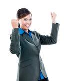 Asiatisk affärskvinna Celebrating Success Arkivbild