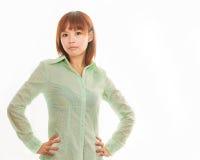 Asiatisk affärskvinna på vitt utrymme Arkivbild