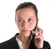 Asiatisk affärskvinna And Smartphone VII Fotografering för Bildbyråer