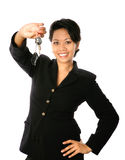 asiatisk affärskvinna som är lycklig henne av seten som mycket visar Fotografering för Bildbyråer