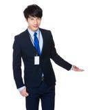 Asiatisk affärsman med fingerpunkt upp Arkivfoton