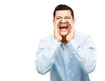 Asiatisk affärsman som ropar ilsken isolerad vit bakgrund Arkivfoto