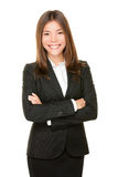 Asiatisk affärskvinna som ler den lyckliga ståenden Arkivfoto