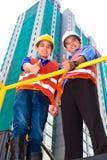 Asiatisk arkitekt och arbetsledare på konstruktionsplats Arkivfoton
