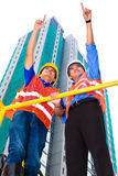 Asiatisk arkitekt och arbetsledare på konstruktionsplats Arkivfoto