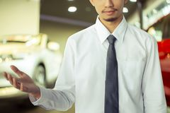 Asiatisk bärande dräkt för affärsman med bilen arkivbild