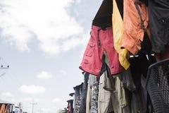 Asiatisk begagnad kläder Arkivfoto