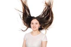 Asiatisk brunettflicka med långt hår Fotografering för Bildbyråer