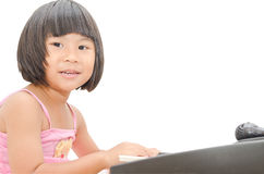 asiatisk digital flicka little pianospelrum Royaltyfria Foton