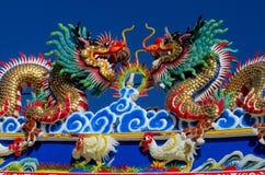 Asiatisk drake i den kinesiska templet Royaltyfri Fotografi