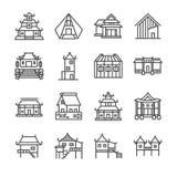 Asiatisk egenskapslinje symbolsuppsättning Inklusive symbolerna som thailändskt hus, japanskt hus, kinesiskt hus, slott, hem, god Royaltyfria Bilder