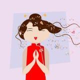 Asiatisk flicka för lycklig tecknad film som är klar att hjälpa stock illustrationer