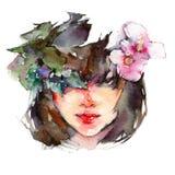 Asiatisk flicka för vattenfärg med blommor arkivfoton