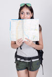 Asiatisk flicka i loppbegrepp Arkivfoto