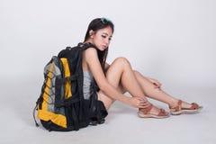 Asiatisk flicka i loppbegrepp Royaltyfri Foto