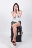 Asiatisk flicka i loppbegrepp Arkivfoton