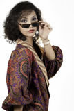 Asiatisk flicka med gammala exponeringsglas 4 Royaltyfri Foto