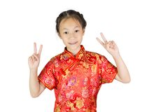 Asiatisk flicka som bär den röda kinesiska dräkten Royaltyfria Foton