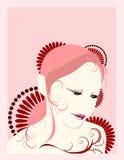 asiatisk flickavektor Stock Illustrationer