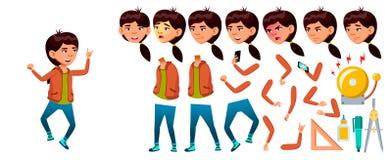 Asiatisk flickavektor Högstadiumbarn Animeringskapelseuppsättning Framsidasinnesrörelser, gester study Kunskap lär, kursen vektor illustrationer