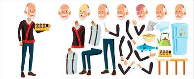 Asiatisk gamal manvektor Pensionär Person Portrait Äldre folk igen Animeringskapelseuppsättning Framsidasinnesrörelser, gester stock illustrationer