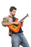asiatisk gitarrist royaltyfria bilder
