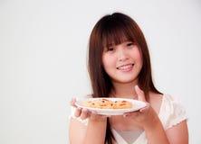 asiatisk gullig kvinna Arkivfoto