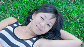 asiatisk gullig kvinna Royaltyfria Foton