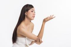 asiatisk härlig framsidakvinna Fotografering för Bildbyråer