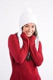asiatisk härlig lycklig vinterkvinna Arkivbild