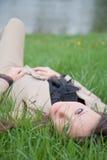 asiatisk härlig utomhus- ståendekvinna Royaltyfria Bilder