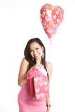 asiatisk härlig valentinkvinna Arkivfoto