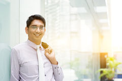Asiatisk indisk stående för affärsfolk Arkivbild