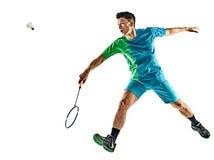 Asiatisk isolerad badmintonspelareman Fotografering för Bildbyråer